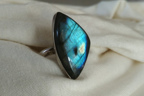 925er Silber Ring - Labradorit 'blue shine'